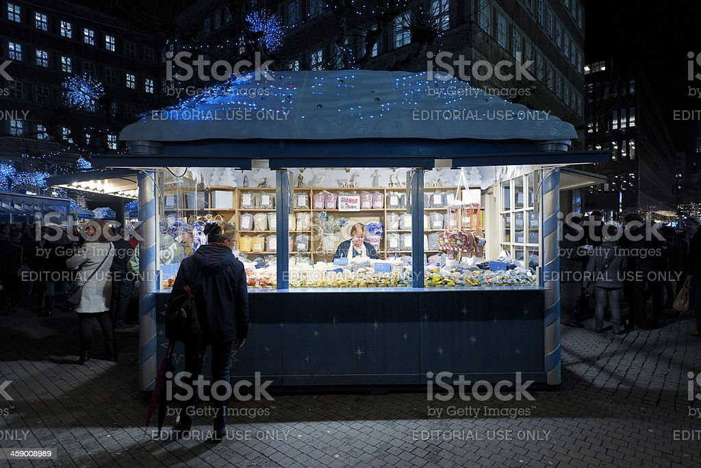 candy store at Christmas Market in Dusseldorf Germany stock photo
