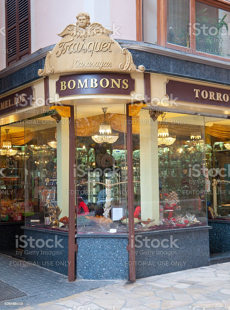 Candy store front stock photo