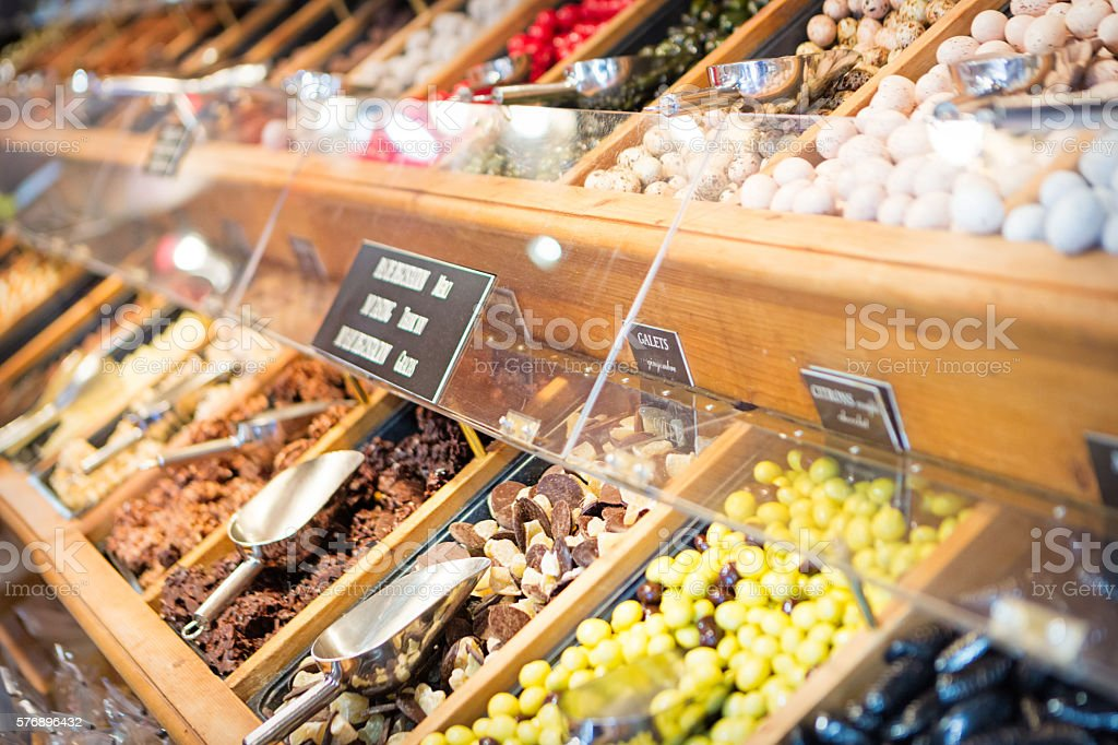 Candy store on a French market stock photo