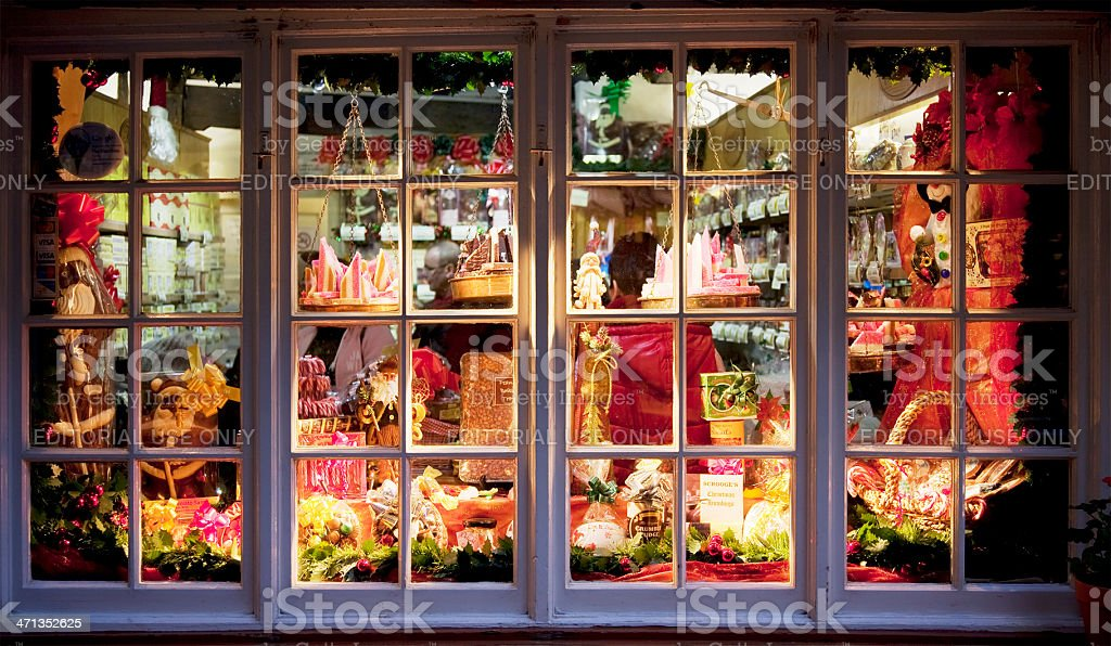 Candy store window stock photo