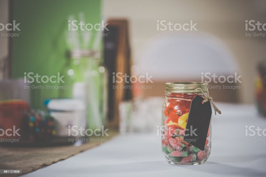 Candy Table at Wedding, Party Celebration Event stock photo