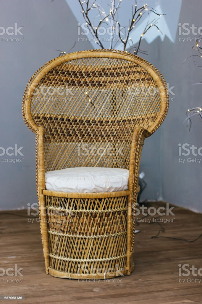 Cane-chair in the room stock photo