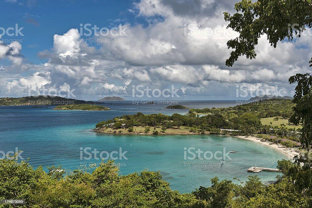 Caneel Bay in the Virgin Islands stock photo