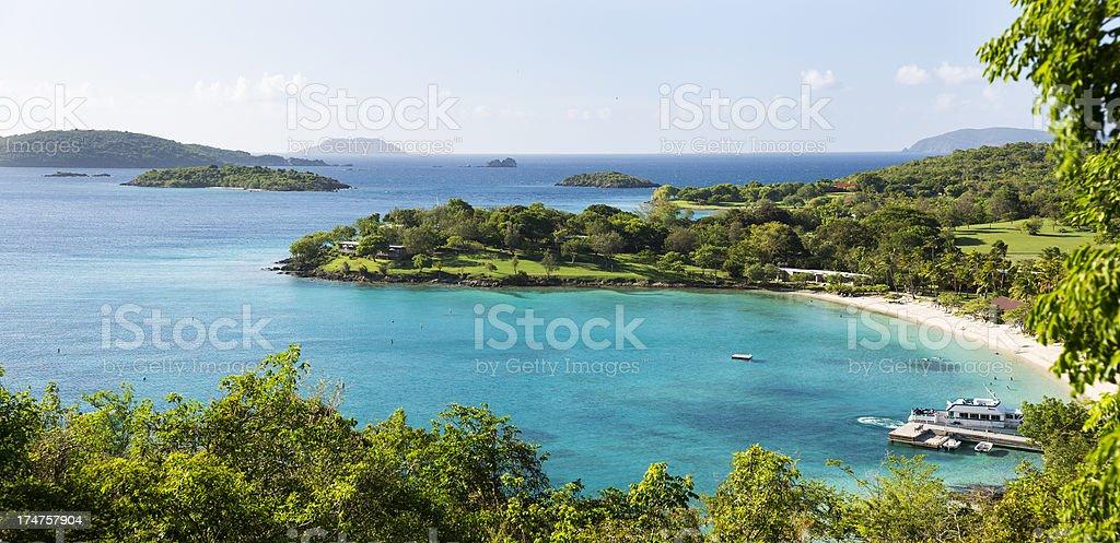 Caneel Bay panorama, St John, USVI stock photo