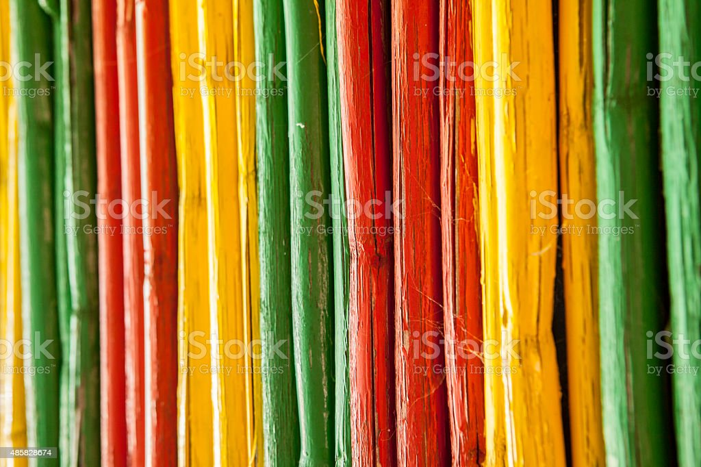 Canes with reggae colors stock photo