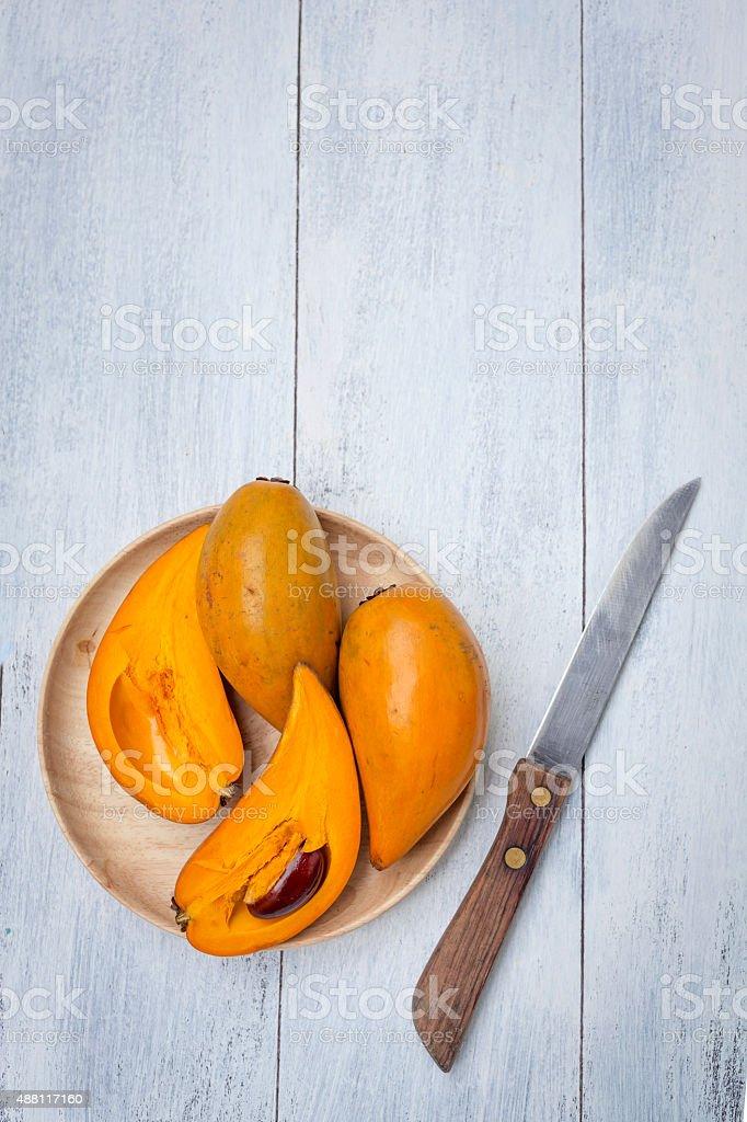 Canistel fruit background stock photo