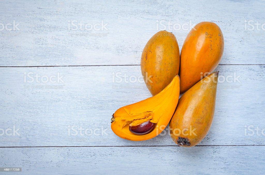 Canistel fruit on white background stock photo