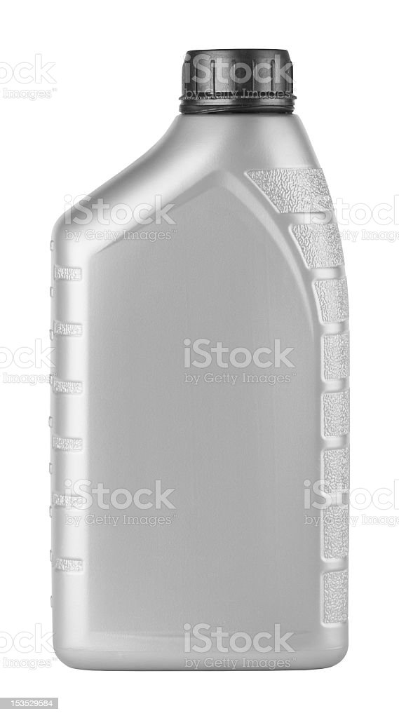 Canister of machine oil isolated on a white background stock photo