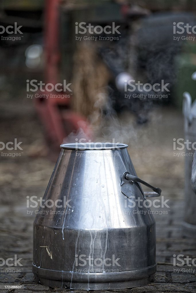 Canister with fresh milk stock photo