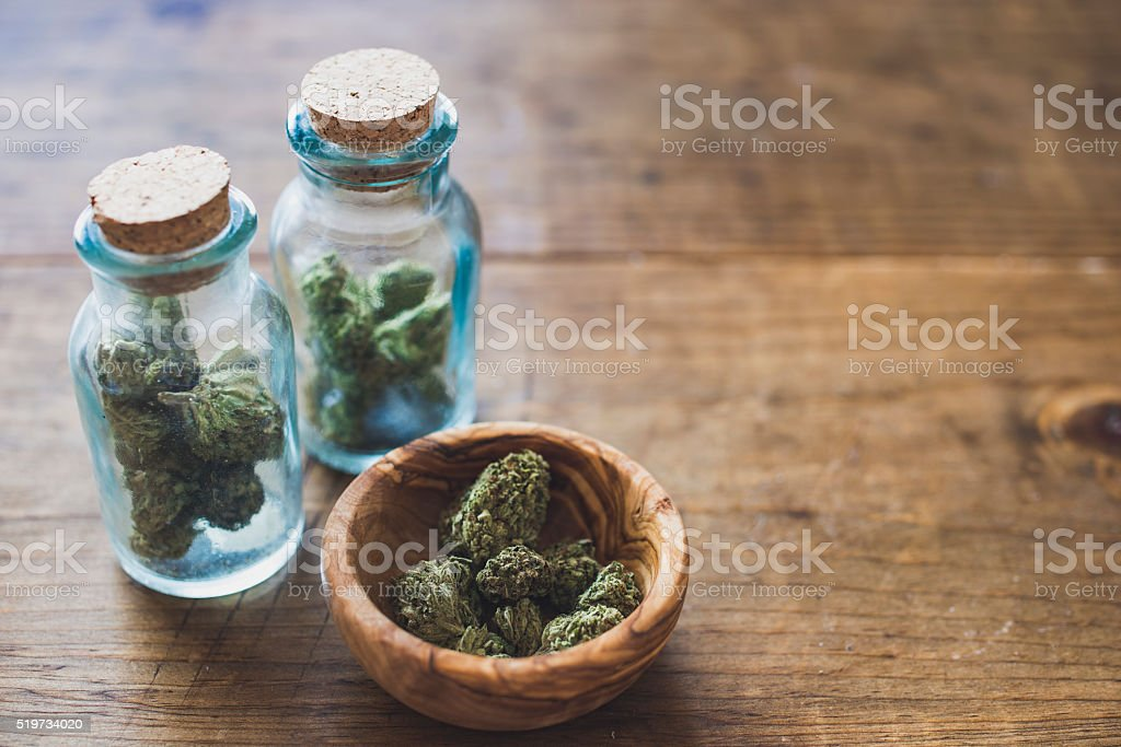 Cannabis in Glass Jars stock photo