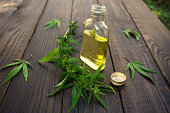 Cannabis leaves and bottle of hemp oil