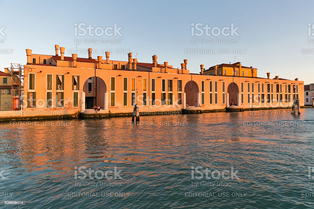 Cannaregio district cityscape at sunset in Venice, Italy. stock photo