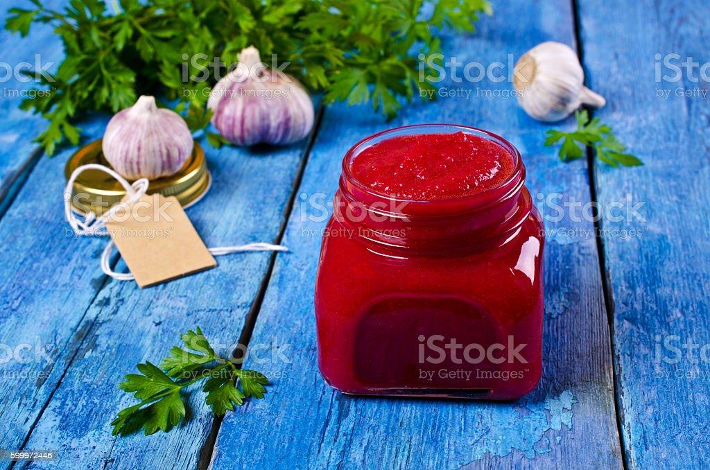 Canned beet caviar stock photo