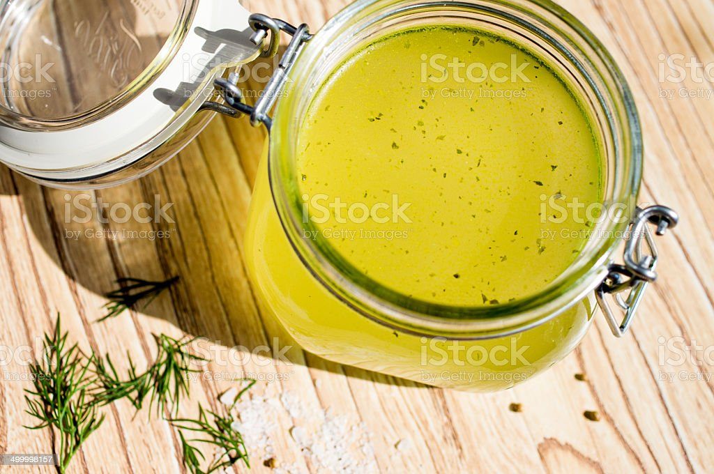 Canned broth, bouillon, clear soup stock photo