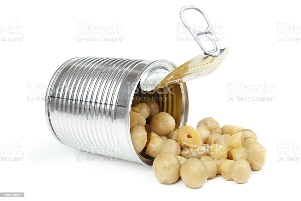 Canned champignons royalty-free stock photo