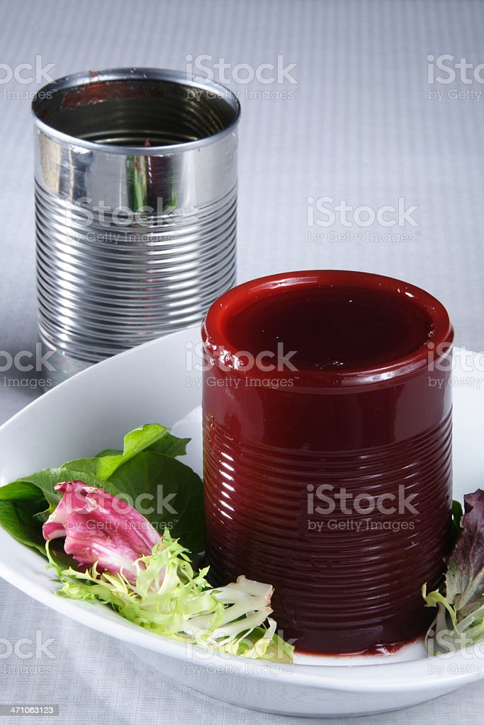 Canned Cranberry Sauce / Jellied Cranberries stock photo