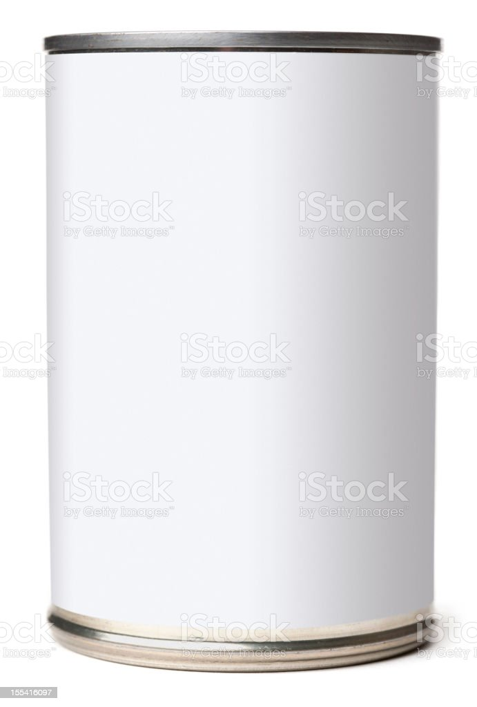 Canned Food with Blank White Label and Clipping Paths royalty-free stock photo
