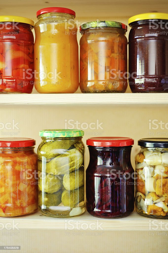 Canned Fruits and Vegetables royalty-free stock photo