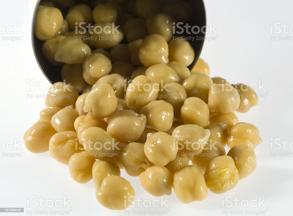 canned garbanzo beans stock photo