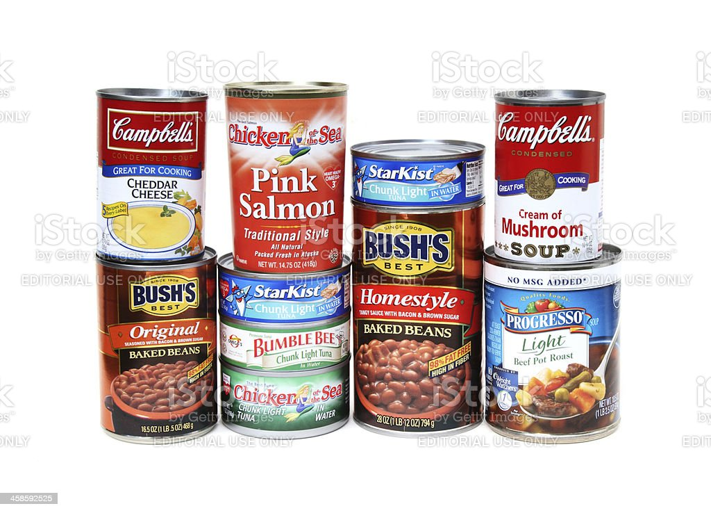 Canned goods collection stock photo
