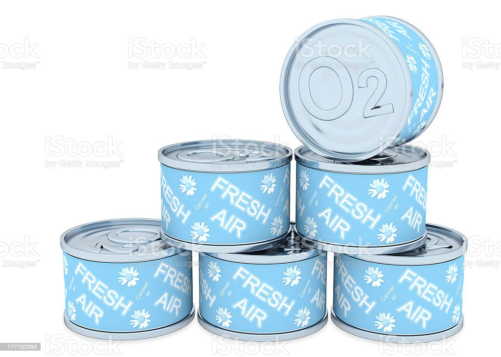 Canned oxygen, fresh air stock photo