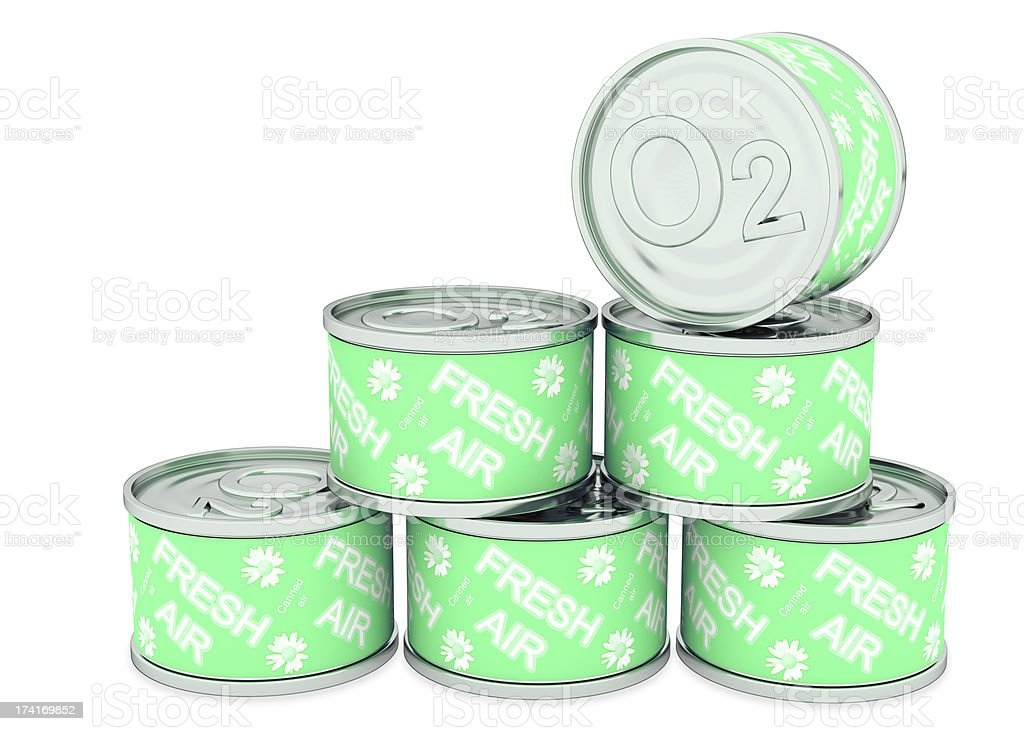 Canned oxygen green label, fresh air stock photo