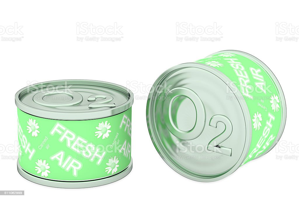 Canned oxygen, two green tins stock photo