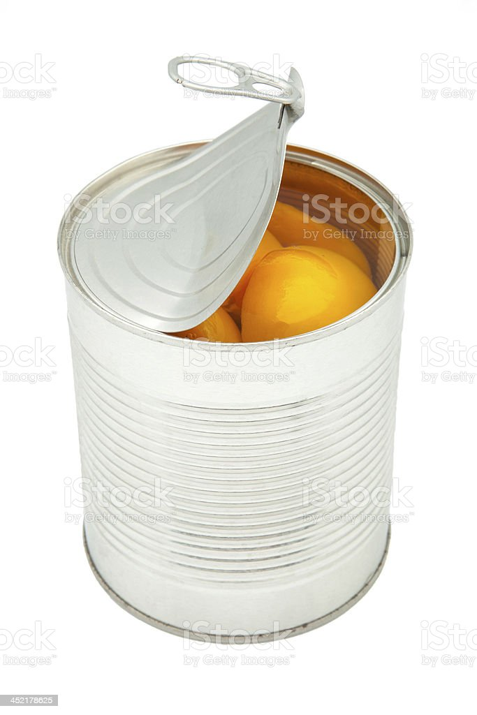 canned peaches stock photo