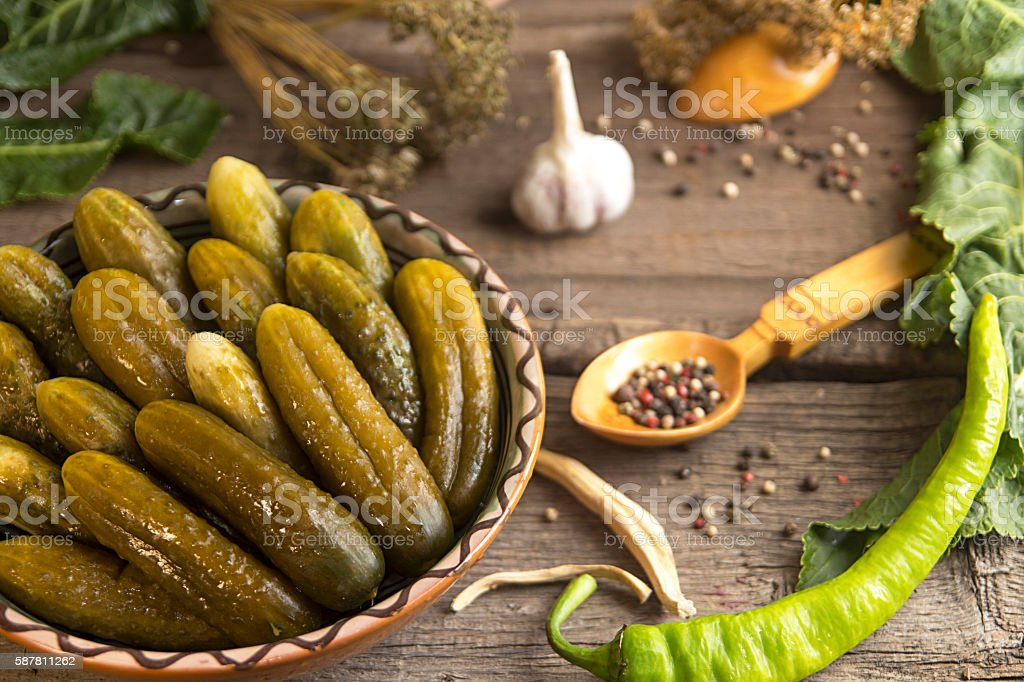 Canned pickled marinated cucumbers stock photo