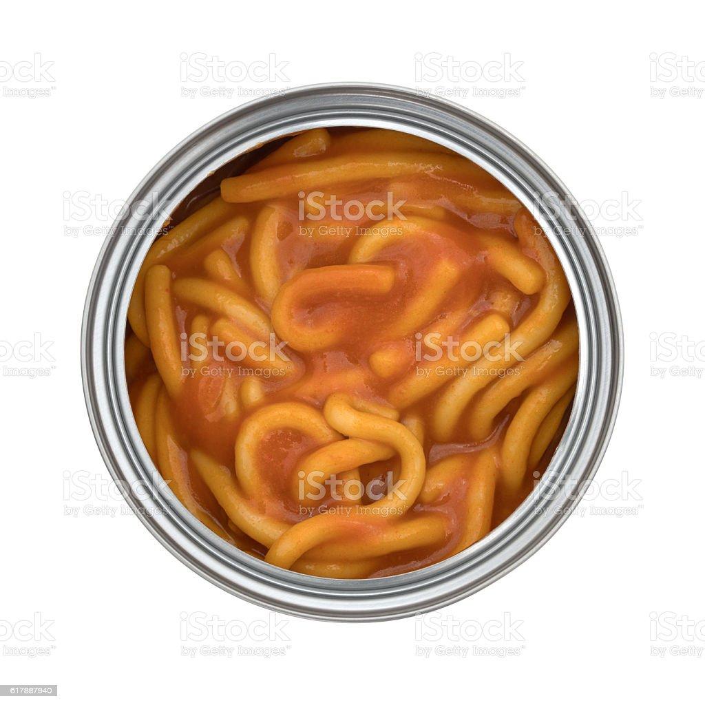 Canned spaghetti stock photo