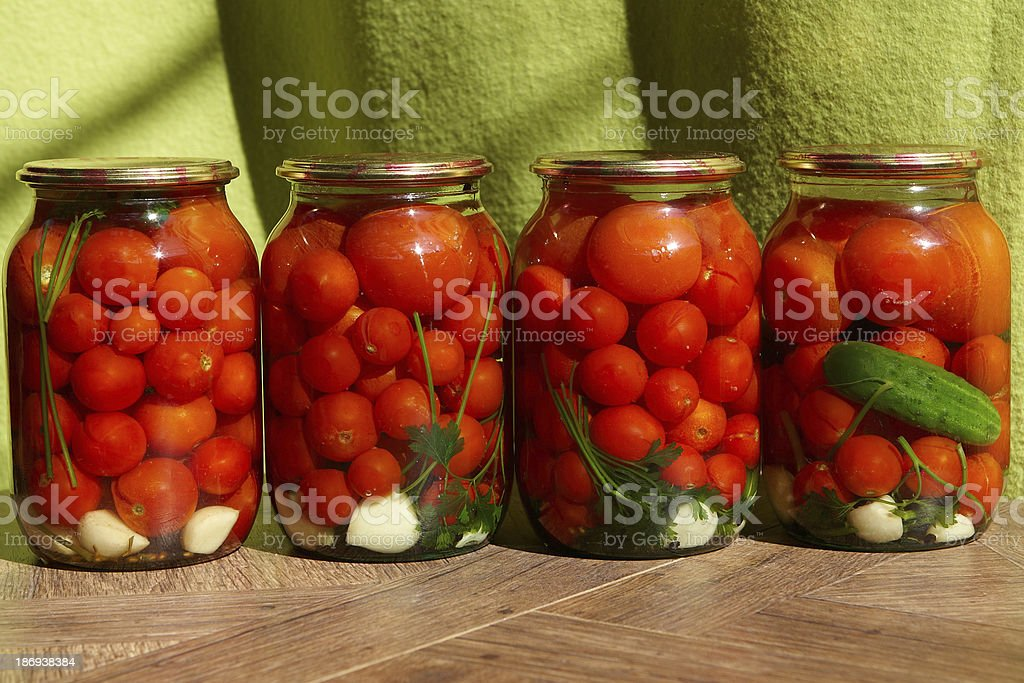 Canned tomatos stock photo