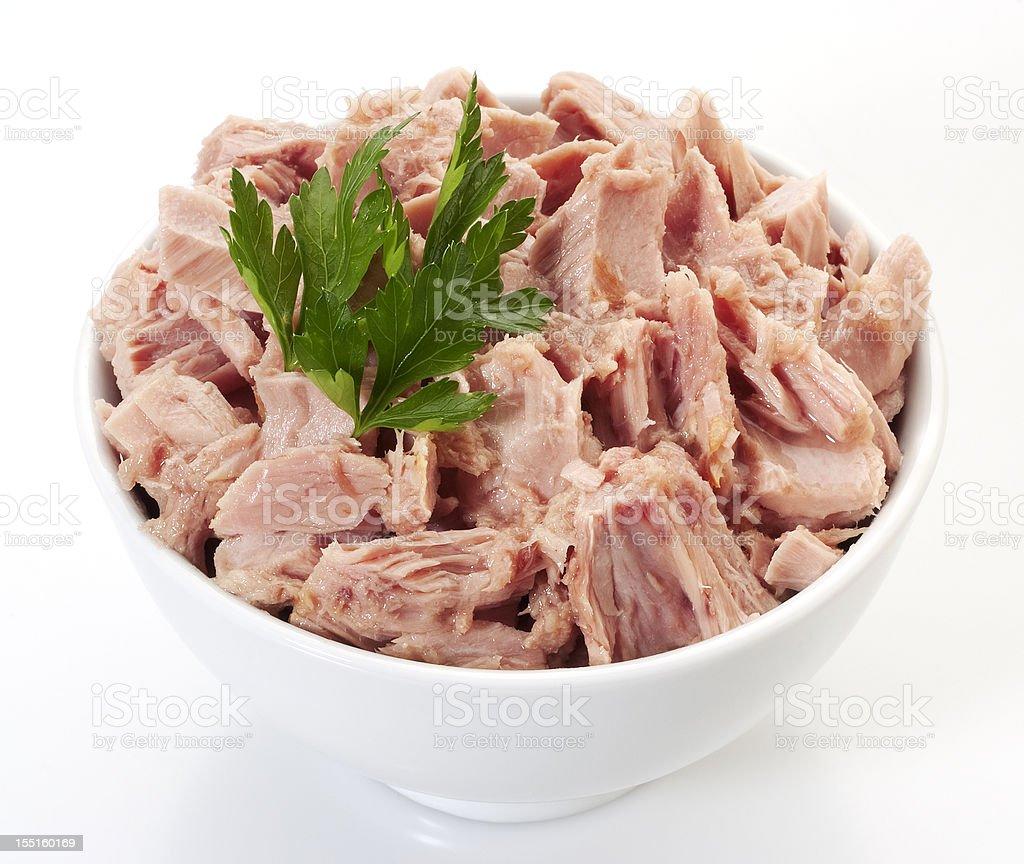 Canned tuna chunks royalty-free stock photo
