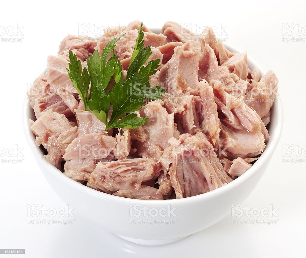 Canned tuna chunks stock photo