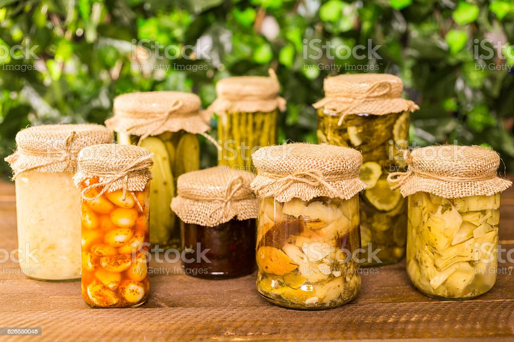 Canned vegetables stock photo