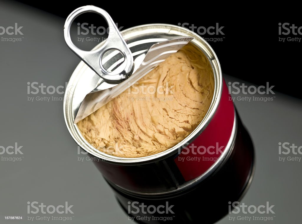 Canned white meat tuna in olive oil stock photo