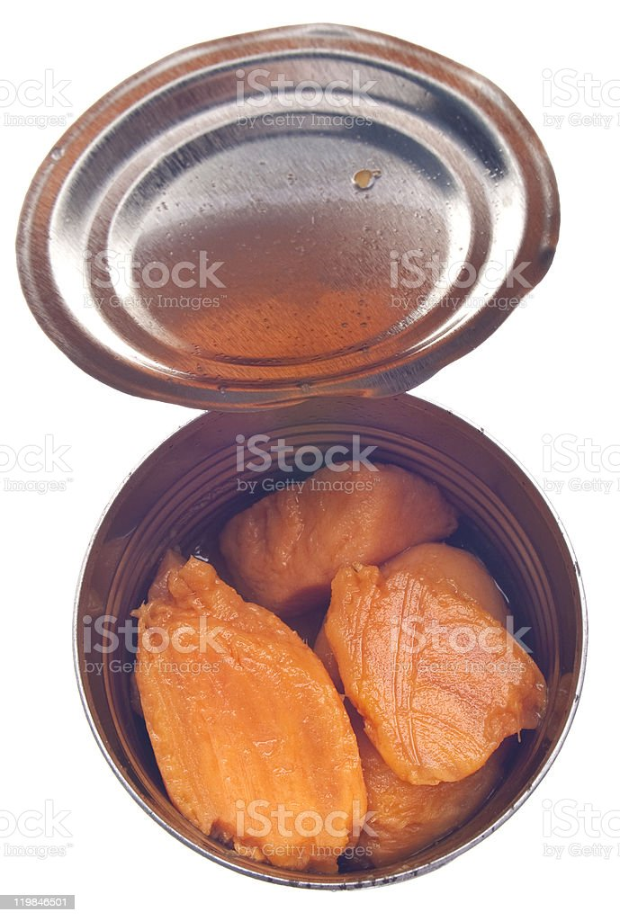 Canned Yams stock photo