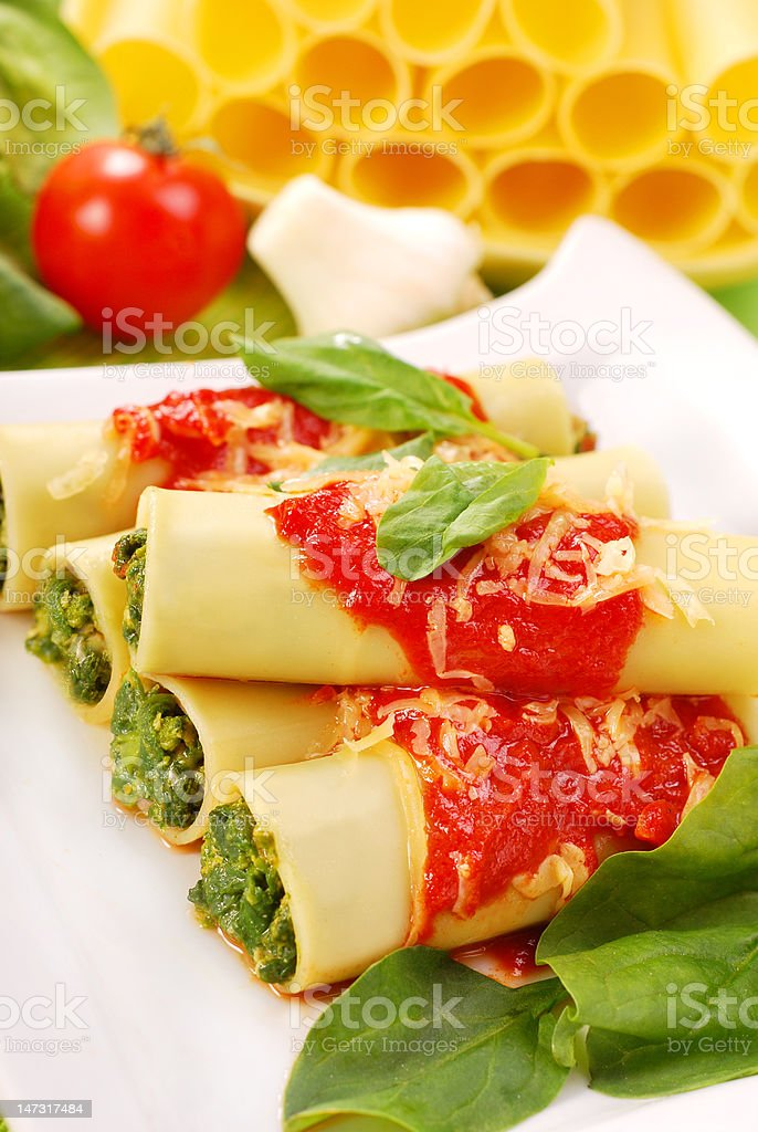 cannelloni with spinach royalty-free stock photo