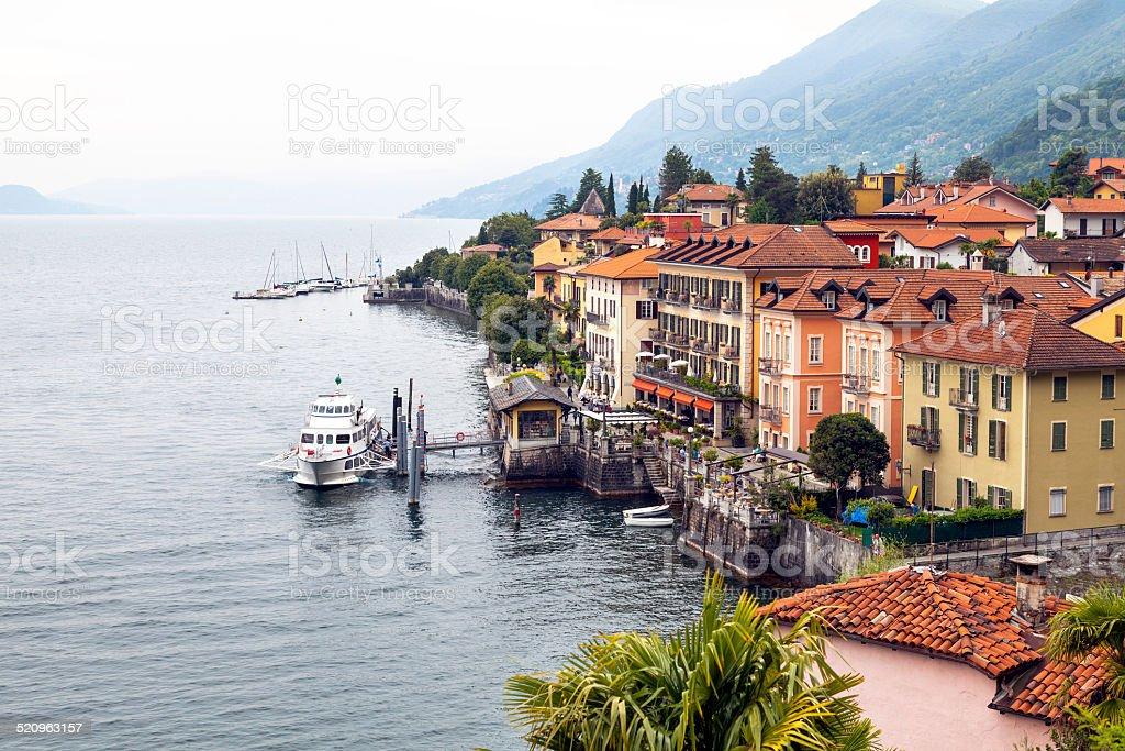 Cannero Riviera, Lake Maggiore, aerial view. Color image stock photo