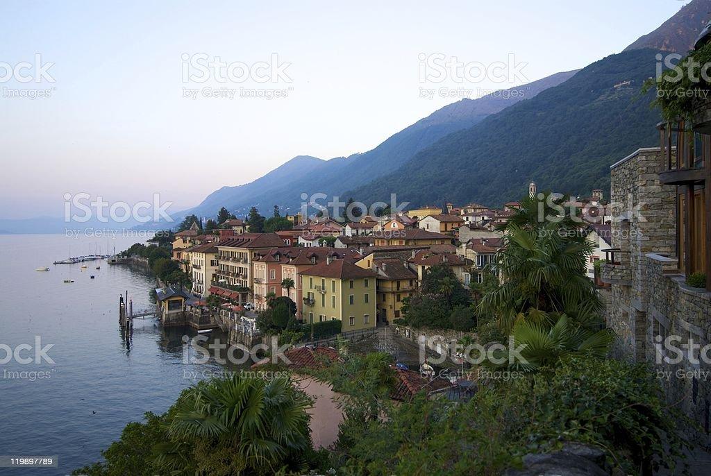 Cannero Riviera panorama on Lake Maggiore stock photo