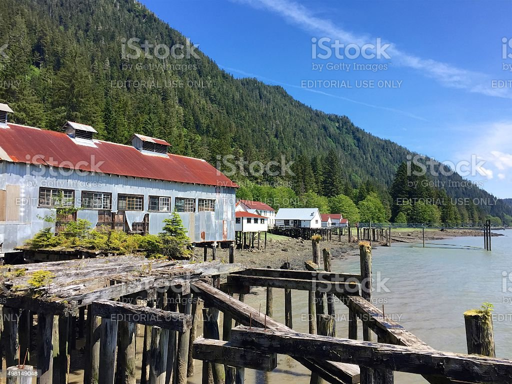 Cannery buildings near Prince Rupert, British Columbia, Canada stock photo
