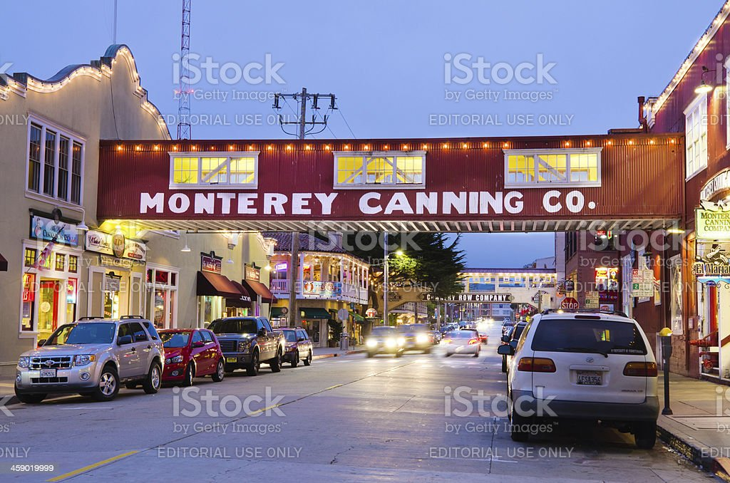 Cannery Row in Monterey, CA at night royalty-free stock photo