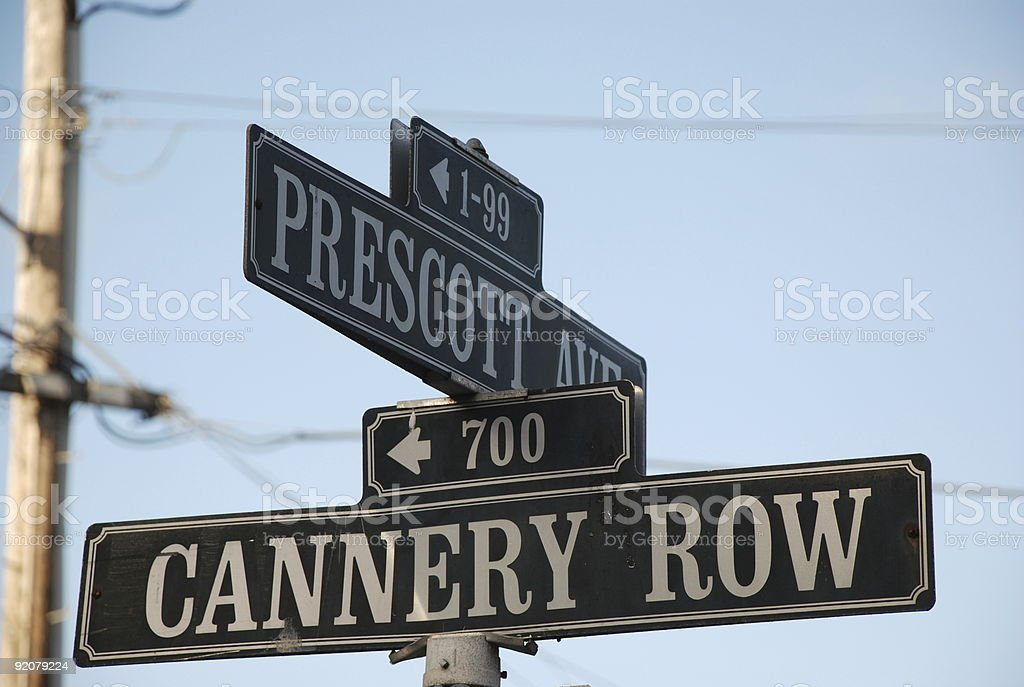 cannery row street sign stock photo