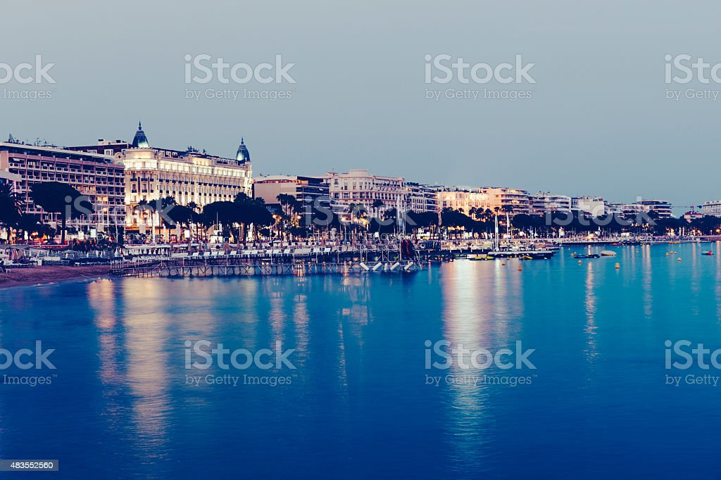 Cannes at Dusk stock photo