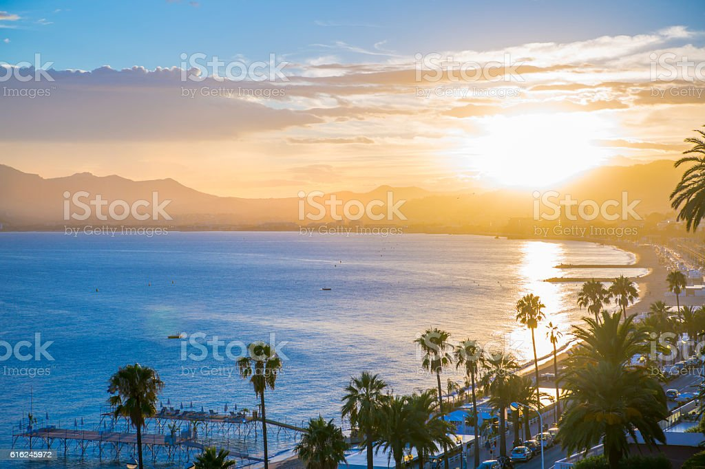 Cannes at sunset. France stock photo