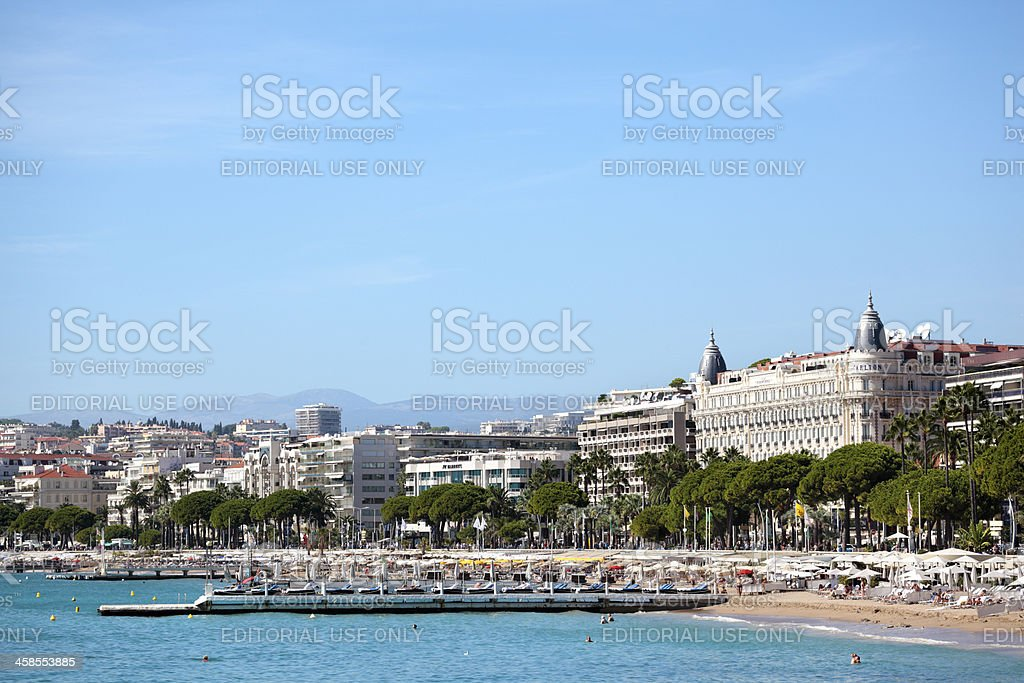 Cannes beach and Carlton International Hotel stock photo
