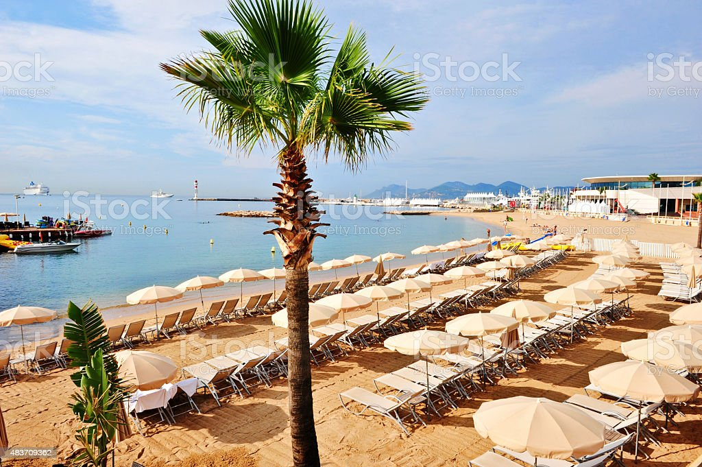 Cannes beach stock photo