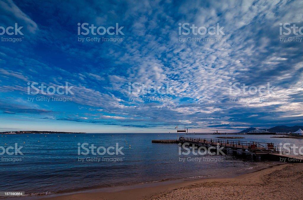 cannes beach scene stock photo