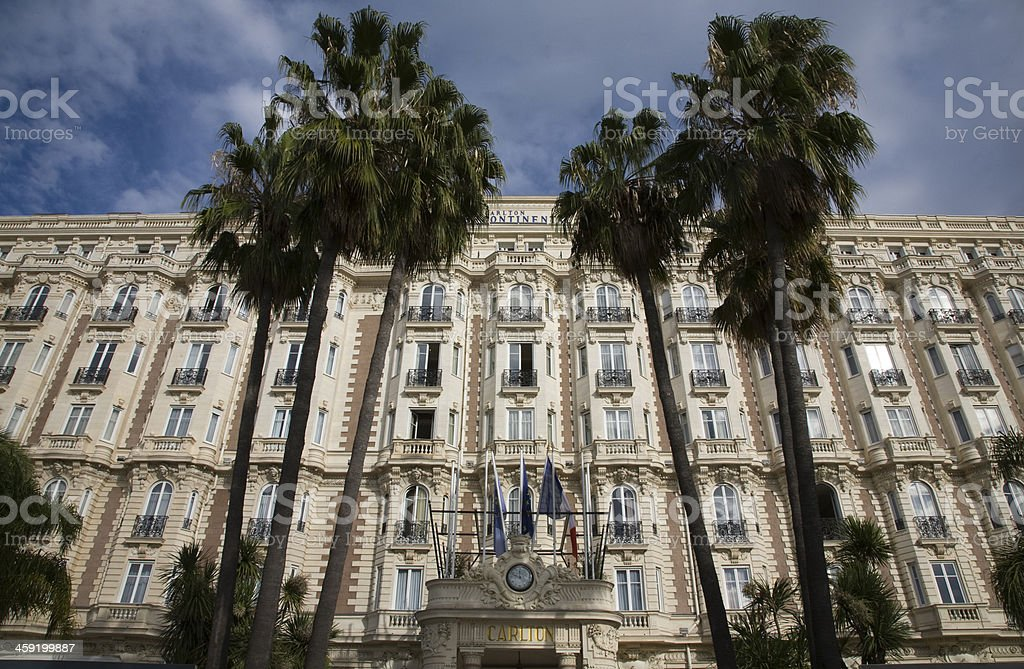 Cannes, Carlton Hotel Intercontinental with palmtrees, France stock photo