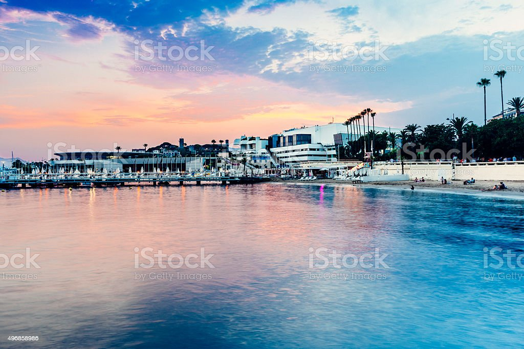 Cannes, French Riviera, at Dusk stock photo