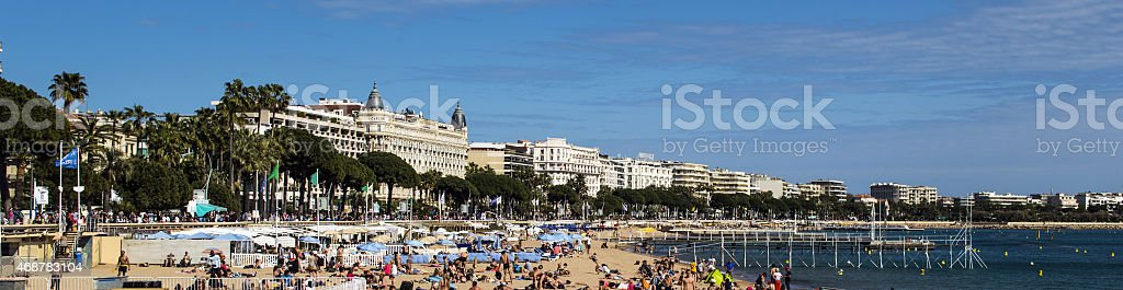 Cannes from the beach stock photo
